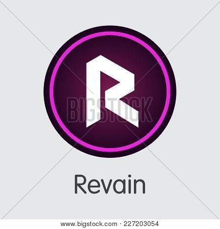 Revain - Digital Currency Coin Pictogram. Vector Coin Illustration Of Cryptocurrency Icon On Grey Ba