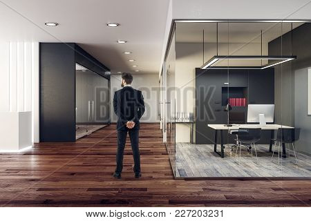 Back View Of Businessman Standing In Modern Glass Office Interior. Design And Style Concept. 3d Rend
