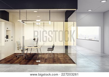 Luxury Glass Office Interior. Design And Style Concept. 3d Rendering