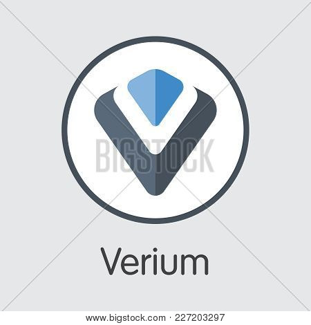 Verium - Blockchain Cryptocurrency Colored Logo. Vector Illustration Of Cryptocurrency Icon On Grey