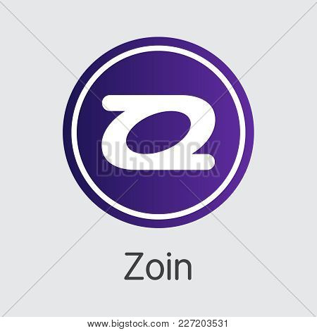 Zoin - Blockchain Cryptocurrency Concept. Colored Vector Icon Logo And Name Of Cryptographic Currenc