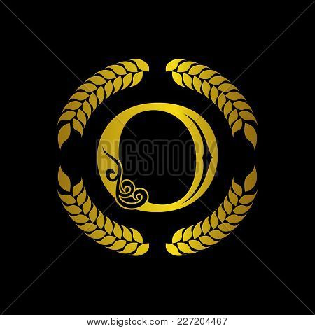 The Monogram A Letter O In An Elegant Frame. O Golden Template For Cafe Bars Boutiques Invitations.