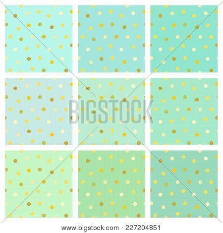 Set Of Vector Seamless Backgrounds With Round Shiny Golden Dots. A Collection Of Endless Simple Patt