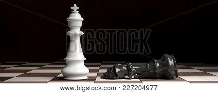 White Chess King Standing On The Chess Board, Black King Down Broken. 3D Illustration