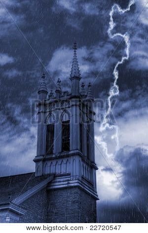 Church Bell Tower In Storm
