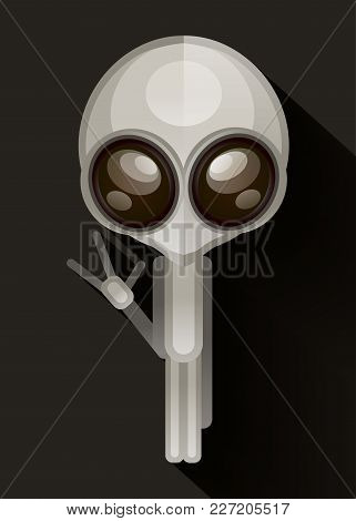 Alien Hand Drawn Vector Illustration. Martian Showing Peace Sign Closeup. Extraterrestrial Invasion