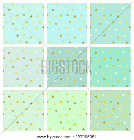 Set Of Vector Seamless Backgrounds With Shiny Golden Round Dots. Endless Simple Patterns In Shades O