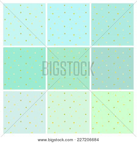 Set Of Vector Seamless Backgrounds With Small Shiny Golden Round Dots. Endless Simple Patterns In Sh