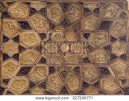 Ayyubid Style Panel With Joined And Carved Wooden Decorations Of Geometric And Floral Patterns, Maus