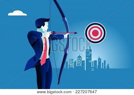 Success. Businessman Aiming Target. Concept Business Vector Illustration.