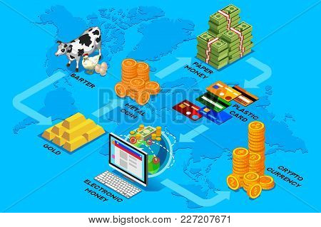 Evolution Of Money To Cryptocurrency Concept Vector Illustration. The Transition From Former Barter