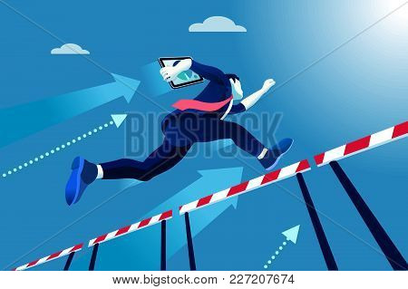 Business Man Jumping Over Obstacles A Manager Race Concept. Overcome Obstacles Concept. Man Jumping
