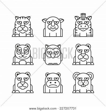 Animals Set, Thin Line Style, Flat Design. Tiger, Rhinoceros, Zebra, Panda, Owl, Bear, White Bear, H