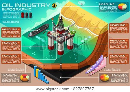 Oil Industry And Gasoline Production Business Presentation Vector Infographic. Water Oil Rig Drillin