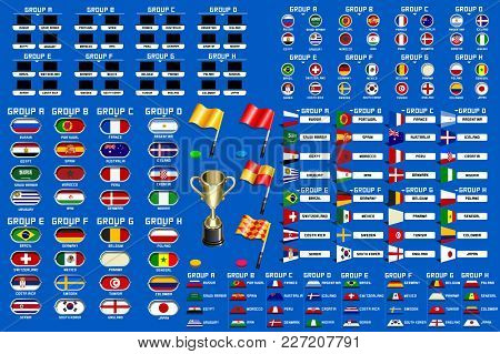 Football World Championship Groups. Set Of Four Different Flag Illustration. Vector Flag Collection.
