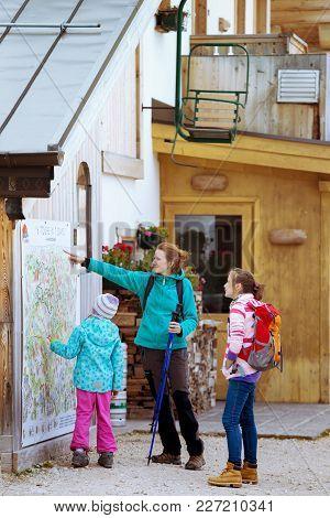 Tourist Girls At The Dolomites
