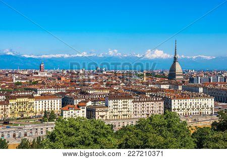 Panoramic Image Of Turin Skyline, Piedmont, Italy