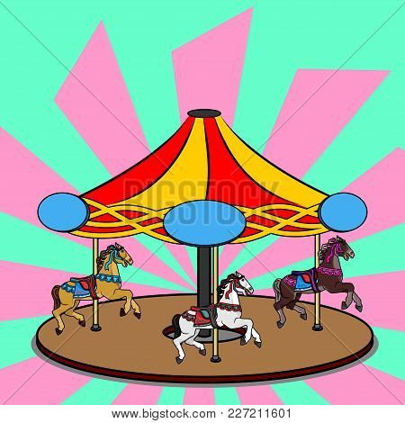 Full-color Vector Illustration Of A Carousel With Three Photorealistic Horses. Bright Colorful Clipa