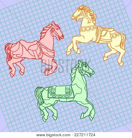 A Set Of Outline Drawings Of Three Different Beautiful Horses With A Harness. On A Blue Background W