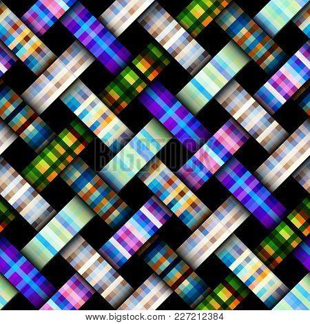 Interweaving Plaid Background. Seamless Vector Pattern. Pixel Art Pattern.