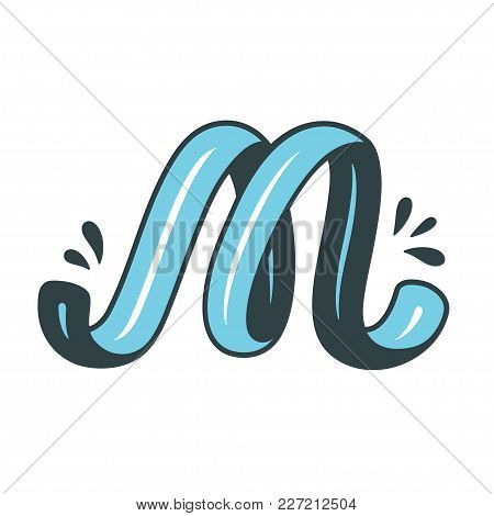 Hand Drawn Decorative Initial Letter M In Cartoon Comic Style. Typography Design, Logo Or Monogram V