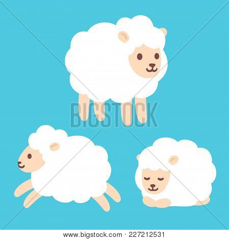 Cute Cartoon Baby Sheep Drawing Set. Standing, Jumping And Sleeping. Adorable Little Lamb Character
