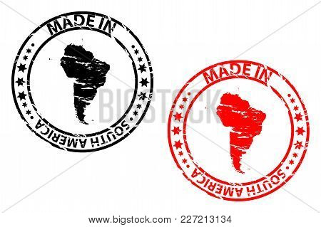 Made In South America - Rubber Stamp - Vector - South America Continent Map Pattern - Black And Red