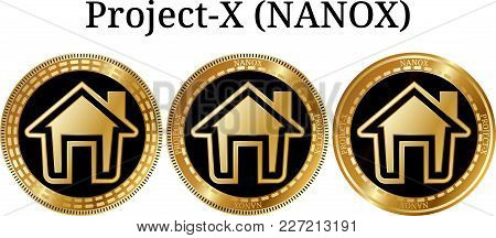 Set Of Physical Golden Coin Project-x (nanox), Digital Cryptocurrency. Project-x (nanox) Icon Set. V