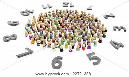Crowd Of Small Symbolic Figures With Clock Numbers Circle, 3d Illustration, Horizontal, Isolated, Ov