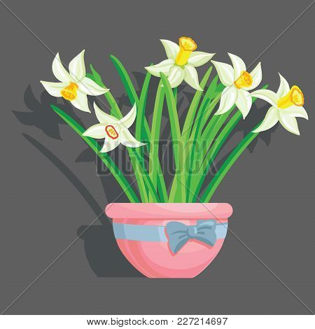 Vector Realisticeaster Flowers On A Grey Background