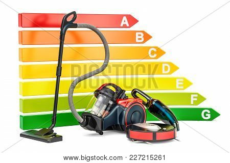 Energy Efficiency Chart With Vacuum Cleaners. Saving Energy Consumption Concept, 3d Rendering Isolat