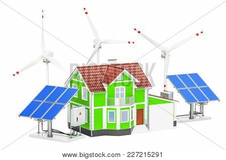 House With Solar Panels And Wind Turbines. Renewable Energy Concept, 3d Rendering Isolated On White