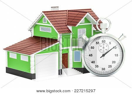 Home With Stopwatch Concept, 3d Rendering Isolated On White Background