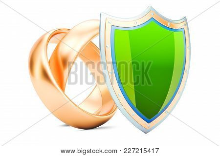 Wedding Rings With Shield, Protection Of Marriage Concept. 3d Rendering  Isolated On White Backgroun