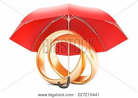 Wedding Rings Under Umbrella, Protection Of Marriage Concept. 3d Rendering Isolated On White Backgro