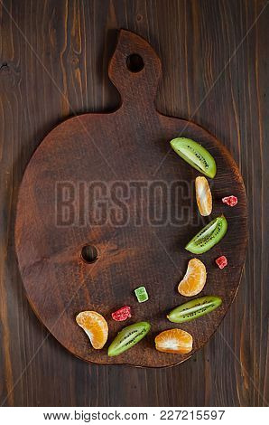 Wooden Background With Natural Fruits For Writing Menus. Top View, Empty Space For Text,