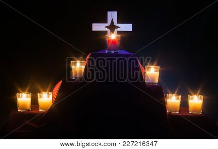 Seven Candles For A Tenebrae Service - 6 White And 1 Red Christ Candle