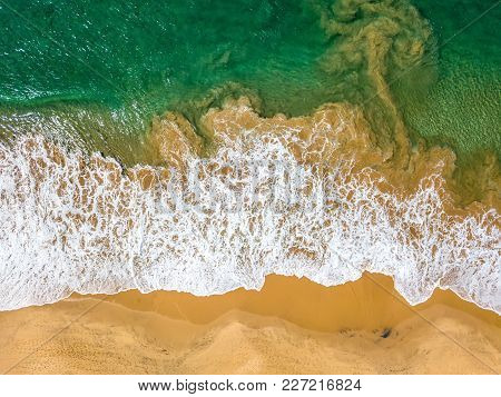 Sunny Colorful Landscape Of The Beach And The Sea In Thiranagama On Sri Lanka. Aerial Horizontal Pho