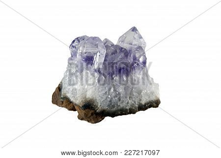 Small Cluster Of Purple Amethyst Crystals Isolated