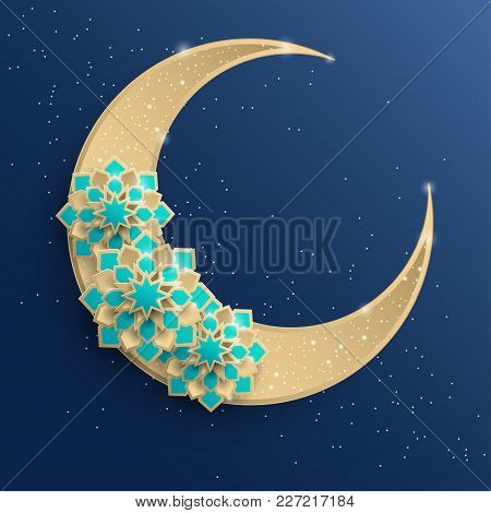 Paper Graphic Of Islamic Crescent Moon, Star Shape. Islamic Decoration. Golden Moon And Stardust. Ra
