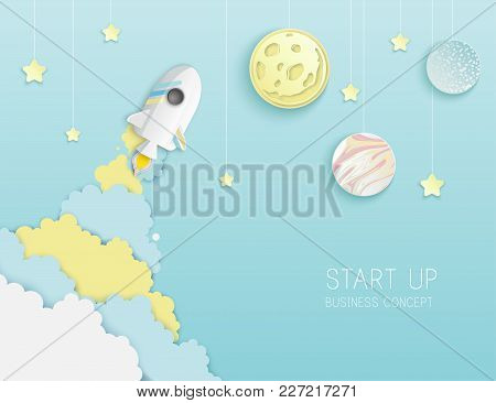 Paper Art Of Space Shuttle Launch To The Sky. Blue Sky, Stars, Full Moon, Planets, Clouds. Rocket La