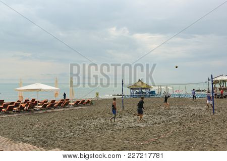 Equipped Beach And A Playground For Beach Volleyball On The Shores Of The Black Sea. Cloudy Day At T
