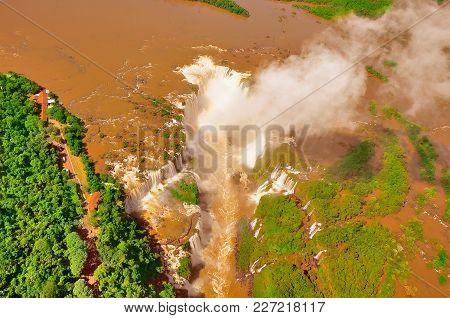 Aerial View Of Iguazu Falls. Argentina And Brazil.