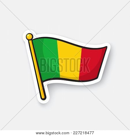 Vector Illustration. National Flag Of Mali. Countries In Africa. Location Symbol For Travelers. Isol