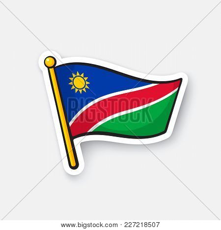 Vector Illustration. National Flag Of Namibia. Countries In Africa. Location Symbol For Travelers. I