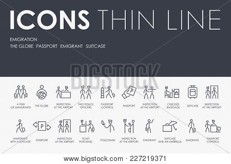 Set Of Emigration Thin Line Vector Icons And Pictograms