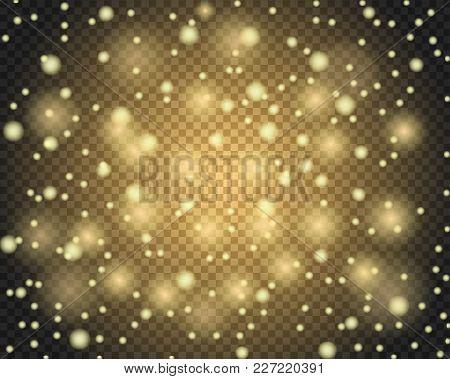 Light Abstract Glowing Bokeh Lights. Golden Glitter Effect Background. Lens Flare Defocused Light Ve