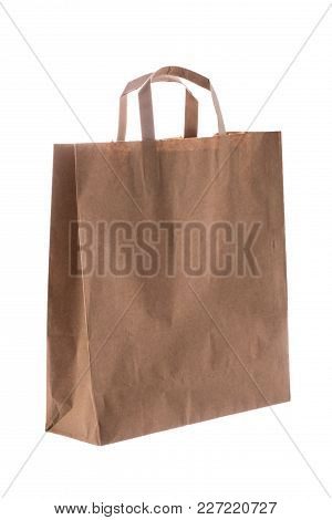 Cardboard Box With Handle Isolated Over A White Background