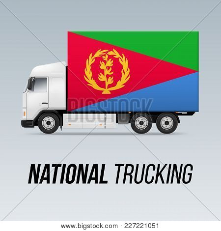 Symbol Of National Delivery Truck With Flag Of Eritrea. National Trucking Icon And Eritrean Flag