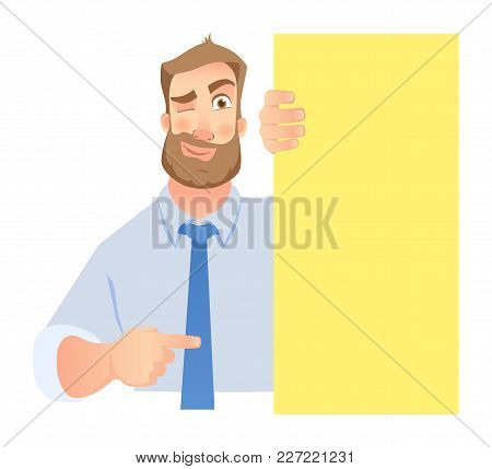 Businessman Holding Blank Signboard. Winking Businessman Points To Banner. Vector Illustration Set